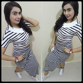 sometime Basic looks classy...Stripes on Stripes with Sneakers💟💜💟 #basics #classy #sundaylook #stripesonstripes #stripedtop #stripeskirt #sneakers #redwatch #purplelips #lessmakeup #fashionblogger #fashionvouge #style-file #sundayvibes #outfittoday #outfitdetails 👇  skirtandTop -:  from Centralmarket, NewDelhi   Sneakers  -:    @luluandsky  watch     :-       @tommyhilfiger
