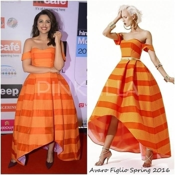 Yay or Nay : Parineeti Chopra in Avaro Figlio.HT Most Stylish Awards were held in Mumbai last night with the best of B-Town beauties in attendance. Parineeti Chopra walked the red carpet looking fresh as a daisy in an orange striped gown by Avaro Figlio. Her strapless gown with a high-low hem was in perfect sync with her personal style - which is feminine, quirky and chic.