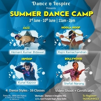 @danceninspire presents the first ever Summer Dance Camp for all the dance lovers in Delhi, with the most exciting dance styles: Jazz, Hoola-Hoop, HipHop and Bollywood. Come and join us for an exciting Summer Experience!  Explore all facets of the art of mentioned styles, learn about the techniques, musicality, coordination, and choreography.   Benefits:  • Learn from the renowned dance artists themselves. • Enhance your skills in the most popular dance styles. • Be a part of the video shoot which will be shot on last day of the camp, with all the participants. • Receive a certificate of accomplishment.  Instructors:  HEMANT KUMAR BIDWAT (Jazz) To know more visit: danceninspire.com/user/hemantkr786  RAJNI RAMACHANDRAN (Hoola-Hoop) To know more visit: danceninspire.com/user/injar88  KUNAL KAPOOR (HipHop) To know more visit: danceninspire.com/user/kunalkapoor  SHEFALI NARANG (Bollywood) To know more visit: danceninspire.com/user/shefalinarang  Classes: 16 classes (4 classes of each dance style)  Dates and Timings: 3rd June to 10th June (Everyday 11 am to 2 pm)  Venue: Dance n Inspire HQ, 1/13 East Punjabi Bagh, New Delhi.  Price: Rs. 2800/- (for all 4 dance styles) Rs. 2300/- (for any 3 dance styles) Rs. 1650/- (for any 2 dance styles) Rs. 1000/- (for any 1 dance style))  For inquiries/register: Call or Whatsapp - 9654144413  #dance #workshop #summer #camp #delhidiaries #summercamp #danceworkshop #dancers #funtimes #training #dancerslife #ilovedance #hiphopdance #hulahoop #bollywoodstyle #announcement #viral #trending #summerdancecamp #delhi #delhievents #hooping #jazzdance #danceninspire