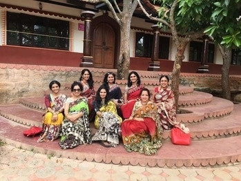 Moments that make it all worthwhile- an entire group of friends wearing sarees from GiftPiper :) What is awesome is that these ladies make it a point to explore a new and interesting venue in Bangalore every month, with a dress code to boot. This time it was the Art of living center, and kalamkari sarees :) https://www.giftpiper.com/browse/kalamkari-sarees #saree #saree #kalamkari #handmade