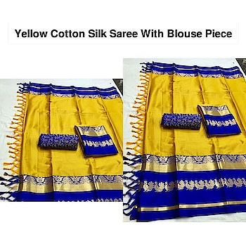 👉 *Name*: Yellow Cotton Silk Saree With Blouse Piece 🔥 *Brand*: Babji Traders 🚚 *Delivery Time*: Delivers within 5 days  *5 days - 100% Return & Refund Policy *No COD charges