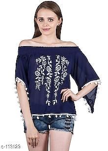 Fancy Tops  Fabric: Top - Rayon Crepe  Sleeves: Sleeves Are Included  Size: M - 38 in, L - 40 in,   Length: Up To 20 in  Type: Stitched  Description: It Has 1 Piece Of Top  Work: Printed & Pom Pom Work  Dispatch: 2 - 3 Days  Price: 699  Cod available