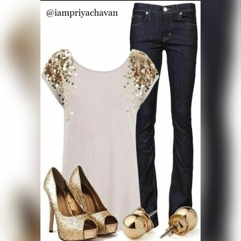 #new #golden 👑#collection  💞#sparkling ✨#heels 👠#earrings 💎#white #top 👕and #blue #jeans 👖#fashion #fashionable #style #stylish #look 🎉#party #wear 🎊 #fashionandtread