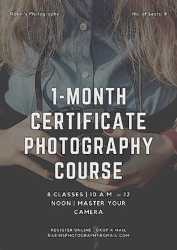 1-MONTH CERTIFICATE PHOTOGRAPHY COURSE (MASTER YOUR CAMERA)  The 1-Month Certificate Photography Foundation Course is designed in such a way that it helps a beginner understand what photography is all about. If you have recently purchased a new digital camera or are looking to improve your level of photography by getting to know more about your camera and lighting, this course is a perfect way to do so.  Looking to get out of the automatic mode and explore the world of photography? This course aims at refining your photography skills and make you a better photographer.  Day 1: Understanding Your Camera DSLR vs Mirrorless Cameras Understanding Types of Sensor Understanding Lens and Focal Length (types, uses, and their application)  Day 2: Understanding Camera Modes (Auto, Aperture Priority, Shutter Priority, Scene Modes, and Manual Mode) Understanding Metering Modes Understanding Focusing Points Understanding Focusing Modes  Day 3: Understanding Aperture Understanding Shutter Speed Understanding ISO Understanding White Balance  Day 4: An outdoor practical session to practice learning from Day 2 & 3 (to be mutually decided during Day 3)  Day 5: Review photos clicked during Day 4 Composition in Photography Understanding and Reading Histogram Understanding Exposure Compensation Understanding Image Formats (JPEG, RAW, etc)  Day 6: An outdoor practical session to practice learning from Day 5 (to be mutually decided during Day 5)  Day 7: Understanding the role of lighting in Photography Introduction to studio lights and modifiers How to shoot outdoors with the available light How to shoot outdoors using a flashlight  Day 8: Introduction to Adobe Lightroom Adjust exposure Cropping images How to sharpen images Using the adjustment tool and Radial Filter Adjust Hue, Saturation, and Luminance of a particular color Add vignette effect Add/make watermark How to save and export image, and much more…  Batch: 8 classes   Timings: 10 a.m. – 12 noon  Location: to be shared while fina