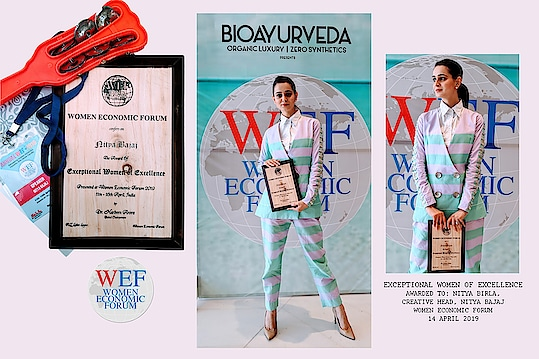 Celebrating our designer's win today at the #womeneconomicforum @womenecoforum as she grabs appreciation for representing our label as a woman entrepreneur 🙌 What better way to receive it than in in #spotbynityabajaj amongst the other global awardees. Thank you everyone who showers us with love each day and help us make a mark on the world map. Thank you @womenecoforum @harbeenarora @jasminkapur for the Honor.