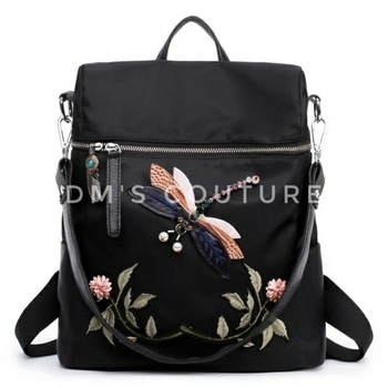 #backpack #handbag #shoulderbag #dragonfly  #embroidery #embroideredbag #embroideredbackpack  Embroidered Dragonfly Floral Backpacks !!  To order dm or Buy from Dm's Couture online. Click https://glowroad.com/s/disha.mehta/shop