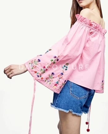 #blouse #tshirtdress #top #casualtop #blouses #womenapparel #womenclothes #womentop #clothes #apparel #apparels #shirt #westernwear #flaredress #casualwear #pinktop #pinkblouse #womenswear #womensclothing #pullover #pullovertop #embroidery #embroiderytop #embroideryblouse  New Womens Sexy Slash Neck Floral Embroidered Tassels Pink Pullover Blouse Tops Shirt  Gender: Women Decoration: Embroidery Sleeve Length(cm): Three Quarter Style: Casual Clothing Length: Short Pattern Type: Floral Material: Cotton,Polyester Fabric Type: Woven Collar: Slash neck Sleeve Style: Regular Size: S, M, L Color: Pink  Please allow 1-3cmdifferences due to manual measurement.  please note 1cm = 0.39inch, 1 inch=2.54cm.  The model pictures are just for reference, please take a look at true photos, and that will be the same as you willreceive.  The color of the actual item may vary slightly from the images cause computers display, camera setting or other factors.  SHIPPINGS & RETURNS Shipping generally takes 8-20 days. Please also allow 3-6 day for processing.  No Return or Exchange Accepted.  Note: This is Pre-order Stuff.  To Order DM or Buy from Dm's Couture online. Click https://glowroad.com/s/disha.mehta/shop