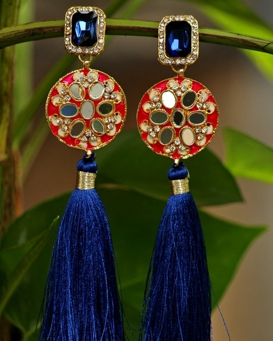 #fashion #jewelry #blue #colors #stone #embellished #with #vintage #style #stone #and #blue #color #long #shiny #tassels #with #flower #shaped #mirror #work #earrings