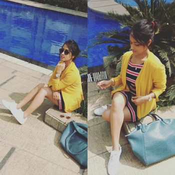 how to get the sporty look with your white sneakers and mustard jacket cum shrug . Please visit https://thebeautitude.com/2017/01/15/sporty-chic-look/ #roposodaily #ropo-love #roposolifestyleblogger #roposogal #roposobeautyblogger #winterfashion