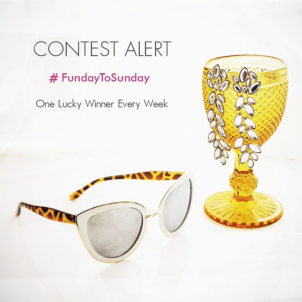 This week's #fundaytosunday  contest got delayed coz we decided to relax a bit. A nice brunch outing with a glass of wine is all that's on our mind ! 😊  This week we are giving away this perfect cateyed reflective summer sunglasses and all you need to do to win this is -  1. Follow our page on Instagram  2. Repost this picture tagging @jokerandwitch and use #fundaytosunday   3. Tell us your favourite fashion trend this season and which J&W accessory do you think complements the trend the most.   4. Tag 3 friends to join in the contest   Keep your profiles public. Contest open for Indian residents only. Contest ends Monday 6 pm. Results to be announced on Monday 7.30 pm.  One lucky winner gets to win this Paris White Sunglasses.     . . . . #contest #contestalert #giveaway #freebies #sunglasses #sunseasand #summer #sunnies #contests #contestday #fashion #style #fashiongram #stylegram #delhigram #pickoftheday #igersindia #mumbai_igers #igers #instafashion #instastyle #fashionista #wooplr #roposo #love #jokerandwitch #roposofashion #roposocontest #soroposo #roposostyle #roposoblogger