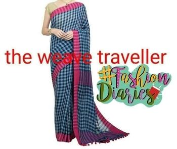 #linensaree #gamchasaree #purelinen #theweavetraveller #beautifulchecks #sareewithblouse #latestarrivals #fashiondiaries
