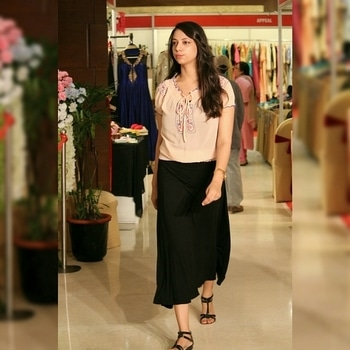 #ootd #ootdshare #whatiwore #peachtop #allaboutyesterday #kanpur_city #weddingevent  #longblackskirt #westsidestore #lifestyleblogger #fashionblogger #browngirl #bloggerbabe