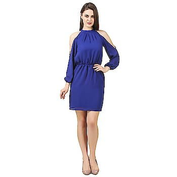 Royal Blue cold shoulder gorgeous dresses #dress #westernwear #be-fashionable #fashioninspiration #ropo-style #trendystuff #ropo-love  if you want Buy this gorgeous dress so leave comment here