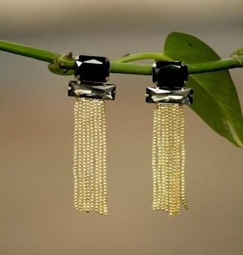 #indian#jwellary#earrings#black#stonestudded#indo#western#tasselearrings