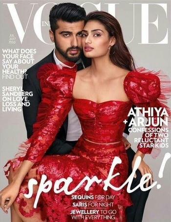 The debonair Arjun Kapoor and the sparkling Athiya Shetty strike a pose on the cover of Vogue...