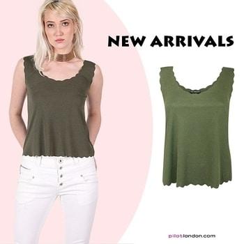 ⚡killin' it in khaki⚡ Get this cute khaki top @ https://www.pilotlondon.com/collections/tops-day-tops/products/christina-scallop-edge-sleeveless-top-khaki-green  #khaki #tops #fashion #dailywear #instafashion #style #shopmore #PilotLondon