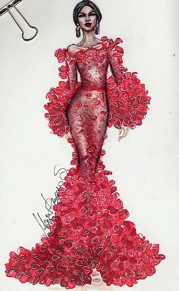 Red dress #fashion #designer-wear #wedding-dress #evening-gown #illustration #sketchinglove #drawing #red-hot
