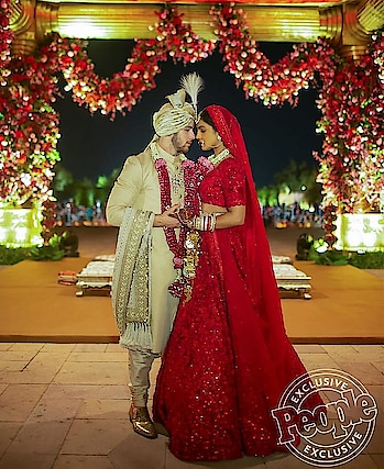 Priyanka Chopra-Nick Jonas' Indian Wedding: The newlyweds look completely smitten by each other! Pic courtesy: People Magazine @pinkvilla ❤️😍 . . .  #priyankaandnickwedding #priyankachopra  #nickjonas  #newlyweds  #firstpicture  #love  #bollywood #umaidbhawanpalace #umaidpalace #jodhpur #wedding #wedding-bride #lehenga