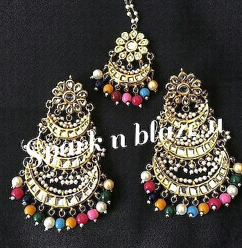 Multi long jhumar earrings with tikka    #worldshipping #onlineshopping #kundanhaar #kundanjewelry #earringslove