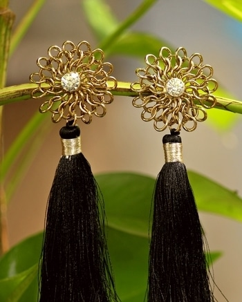 #Transparent #Colour #Stone #Embellished #With #Golden #Colour #Flower #And #Black #colour #Long #Shiny #Tassels #Earrings