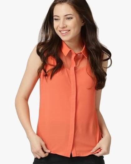 Orange Solid Shirt
