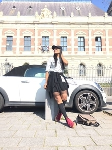#tee #T-shirt #skirt #cap #longsocks #red #grey #black #collection #college