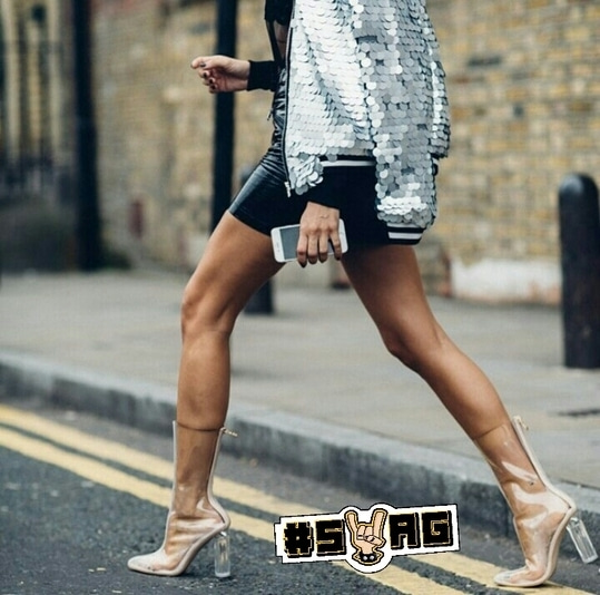 Right from the embellished bomber jacket to pairing it with a leather skirt,and transparent boots everything is on point. Perhaps,2017 should inspire us to create interesting looks with statement pieces. Indeed,we look forward to harmony! #streetstyle #streetfashion #transparentboots #embellished #bomberjacket #leather #women'sfashion #swag
