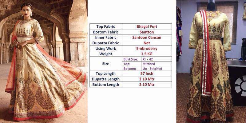 Designer Semi stitched dress material for sale fabric details already given in pic WhatsApp me for price on 9873821909 #brandsfreezon