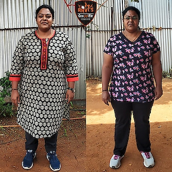 "Here is a inspiring Weightloss Transformation from a busy woman and it will be a great motivation for every busy female who think they are busy throughout the year .  Fitting Fitness into a busy schedule is hard and Exercise is the first thing to get scratched from the calendar.But,  With a little forethought and planning. It's doable. ""Make your well-being a priority"". ""Don't allow yourself to think of your health as a secondary priority"". Easy tips for busy working women Why can't u just stop thinking and start doing something?  Just 30 to 40 minutes enough everyday  #cleanfood #healthyfood #eathealthy #weightloss #cleaneating #getfit #exercise #cardio #healthyliving #healthyeating #healthylifestyle #raviscrossfit #bestcrossfit"
