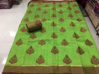 Raw silk available in multiples  Pallu full strip ANd blouse design  Price 1300+$only singles  Full set or bulk 1050+$ only *cnc#  09793917470
