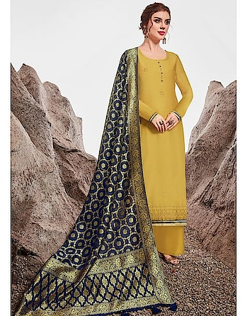 """Be the ray of sunshine with this gorgeous suit available @ www.manndola.com  Grab Up to 65% OFF. Get additional 10% OFF on all orders above $199 using code EXTRA10 & extra 15% OFF on all orders above $299 by using code EXTRA15 !!  Upgrade your festive collection with this Alluring Yellow and Blue Partywear A-Line Straight Cut Salwar Suitt. The Product is from Catalogue Floral """" Akira """". Make a Classy statement with this Alluring Yellow and Blue Partywear A-Line Straight Cut Salwar Suit . This Beautiful Suit comes with Outstanding Embroidered nylon chanderi Top with Matching Dyed Cotton Satin Bottom, and stunning dyed jacquard with tassels Dupatta.  #newarrivals #newlaunch #partywear #ethnicwear #anarkali #style #nylon #chandericotton  #jacquard  #embroidery #photography #instamood #instaupload #fashion #indianfashion #ethnic #usa #india #canada #australia #dubai #uae #mauritius #london #uk #shoponlinenow"""