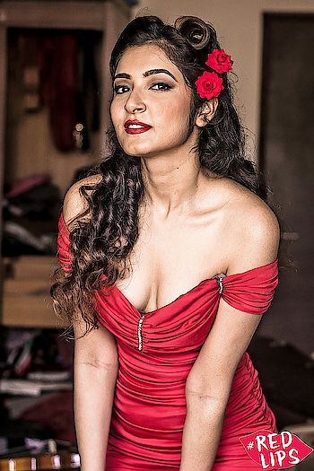 vintage pinup style shoot with model Jui Chandra at Nahar in beautiful red dress and retro hairtstyle, makeup by Valene D'Souza #pinups #pinupfashion #red-hot #reddress #vintage_fashion #retrolook #shayneincphotography #redlips