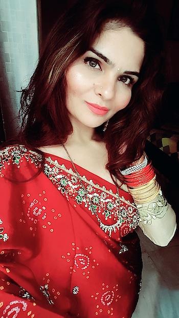 #red #saree #karwachauth #dressup #anikamkhara #anikakhara