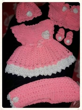 crochet baby frock  #design #frocks #pinkdress  #woolen