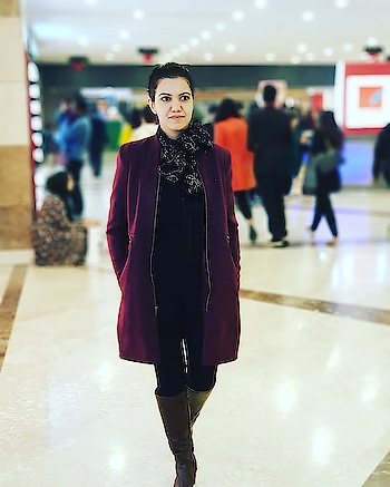 Dressed up for a regular evening outing in a #burgandy #overcoat from @theroadsterlife @myntra teamed with #allblackattire and #shimmery #scarf #fashiongram #womensfashion #fashionpost #fashionlover  #fashiondaily #fashionstylist #pictureoftheday #ootd #longboots