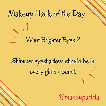 Makeup Tip of the Day . . Want Brighter Eyes? . . Shimmer eyeshadow should be in every girl's arsenal. . . The technique in question involves highlighting the inner corners of the eyes with bright, shimmery colors like pink, blue, gold, or peach. . . This trick makes eyes look brighter and more awake. . . . . . . . . . . . . . . . . #eyes #eyemakeup #highlighter #highlighting #highlightingeyeshadow #Diyoftheday #makeuptricks #makeuptips #indianbeautyblogger #indianbeautyblog #bangaloregram #igersofbangalore #bangalorebeautyblogger #bangaloreblogger  #instablogger  #instadaily  #makeuptipoftheday  #shoutoutforfollow  #mumbaibeautyblog #bangaloreinstagrammers  #hacks #makeuphacks #bangalorebeautyblog #mumbaiblogger #mumbaibeautyblogger #indianreviewblog #indianreviewblogger #bangalorebeautyblog