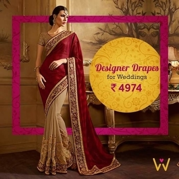 Look like a diva at your best friend's reception with this incredible designer drape!  Buy Now from WedLista.com - India's Premier 'Fashion for Weddings' Online Destination!  http://bit.ly/SareesByWedLista  #WedLista #FashionForWeddings #weddingseason #weddingsaree #weddingwear #shoppingonline #loveforweddings #loveforroposo