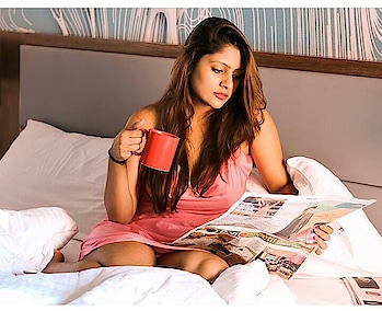 #hot #ropo-girl #pinkdress Reading #newspaper #fashionfables