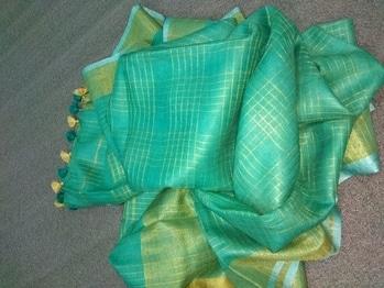 Linen sarees, 100 count  #designer #linen #checks #checksaree #sareeswag #weeding #love #pink #orange #mint #lemon