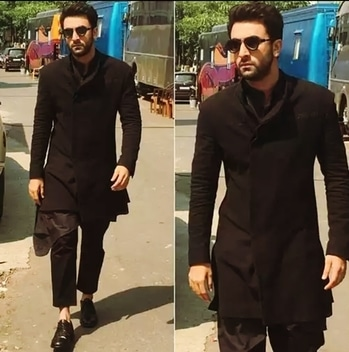 RK kills it with all black fusion...#ranbeerkapoor#blackkurta#heartthrob#bollywoodfashion#allblack#fusionwear#fusionfashion