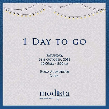 1 DAY TO GO!! Gearing up for yet another exciting event curated with the very best of fashion and lifestyle MODISTA Saturday, 6th October, 2018, Roda Al Murooj, Dubai  #Modista #modistadxb #fashionexpo #exhibition #fashion #lifestyle #accessories #jewelry #indiandesigners #internationaldesigners #dubai #mydubai #instastyle #instafashion #bloggerstyle #bloggerfashion #celebritystyle #celebrityfashion #fashionweek #bollywood #menswear #mensfashion #mensstyle #igfashion #igstyle
