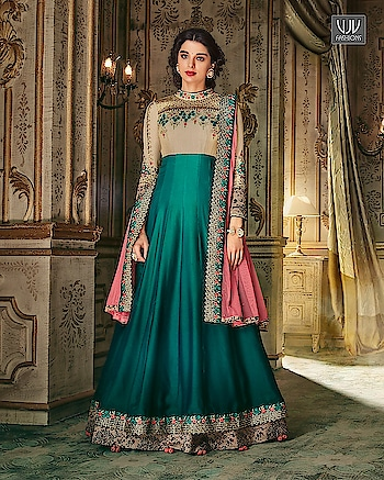 Buy Now @ http://bit.ly/VJV-KESA10005  Fantastic Teal And Beige Color Silk Designer Anarkali Suit  Fabric- Georgette, Silk  Product No 👉 VJV-KESA10005   @ www.vjvfashions.com