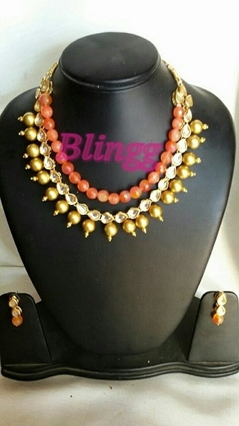 Semi precious tangrine beads..with polki kundan nd gold multilayer neckpiece..bright and beautifull piece..a must hv colour fr ths season..#swag #jewelry #tangerine #necklace #trending # #fashion #fashion-diva #style #accessorize # #fashion jewellery # #neckpiece