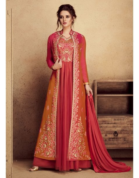 This season's Hottest Trends Of Arresting #Orange and Red Partywear Anarkali Style Suit @www.manndola.com  Grab Up To 65% OFF. Get additional 10% OFF on all orders above $199 using code EXTRA10 & extra 15% OFF on all orders above $299 by using code EXTRA15 !!     Light Up your ethnic style with this Orange and Red Party Wear Anarkali Style Suit. This stunning apparel comes with Embroidered heavy silk with pure butterfly net kameez with dyed santoon bottom which will make you feel comfortable.This Garment features Gorgeous Dyed Nazneen with four sided golden border dupatta which completes the Look.  #newarrivals #newlaunch #partywear #Anarkali #net #butterflynet #eveningwear #embroidery #style #photography #instamood #instaupload #fashion #indianfashion #ethnic #usa #india #canada #australia #dubai #uae #mauritius #london #uk #netherlands #paris #shoponlinenow