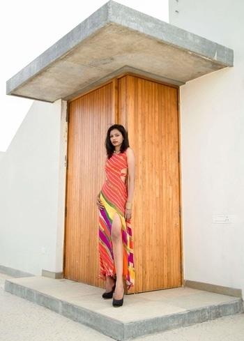 #designer  #designerwear #indowestern #lehariyaprint  model: Sharon rose Designer: roma jain  follow for more updates  https://www.facebook.com/romajaindesigns/