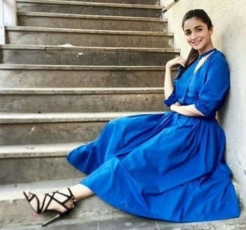 The ever cutest Alia Bhatt in Love Birds designed outfit for movie promotions and styled by-Ami.