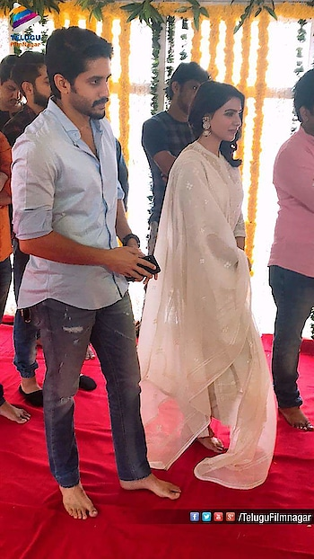 Pictures from the pooja ceremony of #NC17 starring Akkineni Naga Chaitanya and Samantha Akkineni  Directed by #ShivaNirvana  Produced by #SahuGarapati & #HarishPeddi under Shine Screens #ChaySam