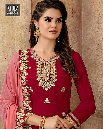 Buy Now @ http://bit.ly/VJV-FZ2704  Modest Red Color Georgette Embroidered Sharara Suit  Fabric- Georgette  Product No 👉  VJV-FZ2704   @ www.vjvfashions.