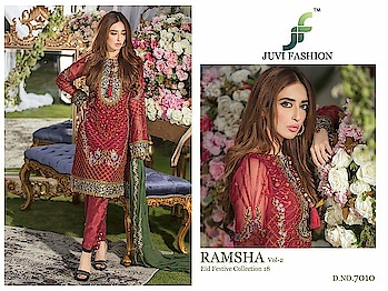 MAYSA COLLECTIONS: 💕 *#RAMSHA VOL 2*💕 *EID FESTIVE COLLECTION 18* *Super Hit Designs*                👇🏻Fabric details 👇🏻  👗 Top : GEORGETTE WITH HEAVY EMBROIDERY AND ADDITIONAL HANDWORK IN ALL PCS  👖Bottom   : HEAVY SANTOON  🌹INNER- HEAVY SANTOON   🔺Dupatta : NAZNEEN CHIFFON EMBROIDERED DUPATTA  NOTE : HEAVY ADDITIONAL WORK IN ALL PCS  Set Price : 1249+ Gst  Dispatch: Ready 💯 Whatsap on.  +918879845751. +919029093762  Whatsapp maysa collections directly from here.. https://api.whatsapp.com/send?phone=918879845751  Also Join our below networks free for getting latest updates.  Hello, thank you for your valuable message to MAYSA COLLECTIONS.  Will get back to you soon..   FACEBOOK  https://www.facebook.com/maysacollections  YOU TUBE  https://www.youtube.com/channel/UCWAOvQymcY3bTdp_0jFiuzA?sub_confirmation=1  TELEGRAM https://t.me/maysacollections  INSTAGRAM https://www.instagram.com/maysacollection6125  ROPOSO https://www.roposo.com/profile/maysacollection/18166642-9884-481a-ad55-8efb727cb4c