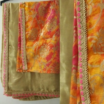 Golden Saree with colorful blouse #sareecollection2017 by #SimbhaCreations  #italiansilksaree #goldens #bead #colorfulblouse #lovely_combo #ethniclove #SimbhaCreations  #sarees